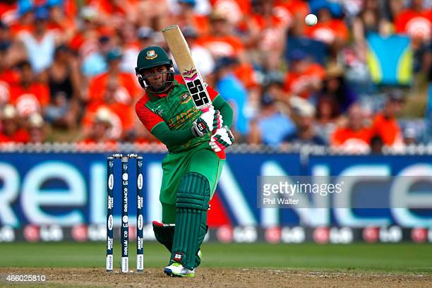 Mushfiqur Rahim of Bangladesh bats during the 2015 ICC Cricket World Cup match between Bangladesh and New Zealand at Seddon Park on March 13 2015 in...