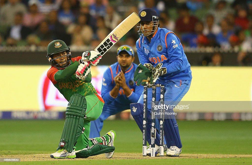 Mushfiqur Rahim of Bangladesh bats during the 2015 ICC Cricket World Cup Quater Final match between India and Bangldesh at Melbourne Cricket Ground...