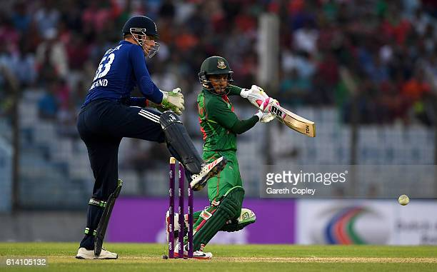 Mushfiqur Rahim of Bangladesh bats during the 3rd One Day International match between Bangladesh and England at Zohur Ahmed Chowdhury Stadium on...