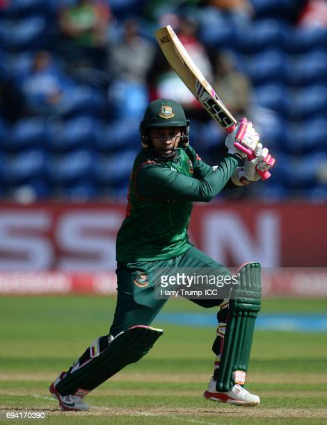 Mushfiqur Rahim of Bangladesh bats during the ICC Champions Trophy match between New Zealand and Bangladesh at the SWALEC Stadium on June 9 2017 in...