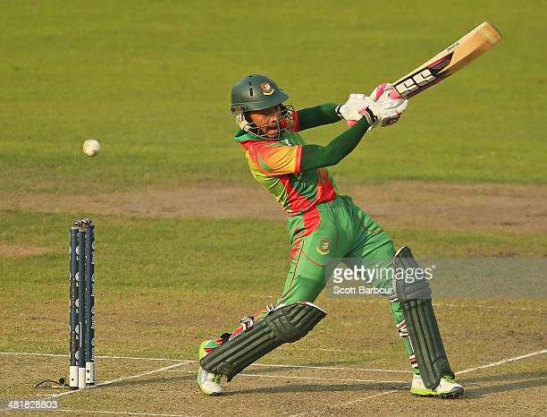Mushfiqur Rahim of Bangladesh bats during the ICC World Twenty20 Bangladesh 2014 match between Bangladesh and Australia at ShereBangla Mirpur Stadium...