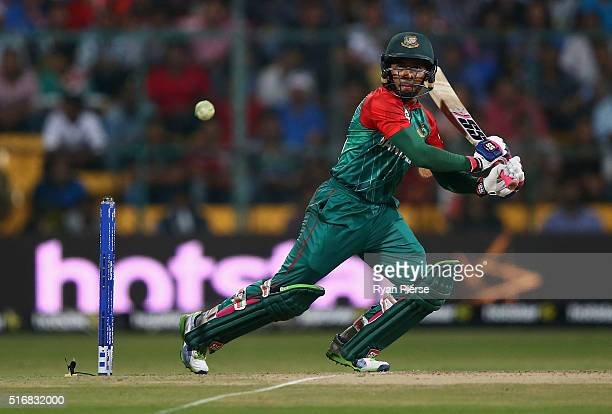 Mushfiqur Rahim of Bangladesh bats during the ICC World Twenty20 India 2016 Super 10s Group 2 match between Australia and Bangladesh at M Chinnaswamy...