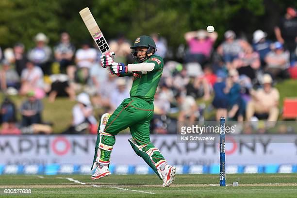 Mushfiqur Rahim of Bangladesh batting during the first One Day International match between New Zealand and Bangladesh at Hagley Oval on December 26...