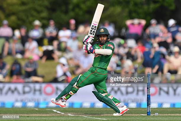 Mushfiqur Rahim of Bangladesh batting during the first One Day International match between New Zealand and Bangladesh at Hagley Oval on December 26...