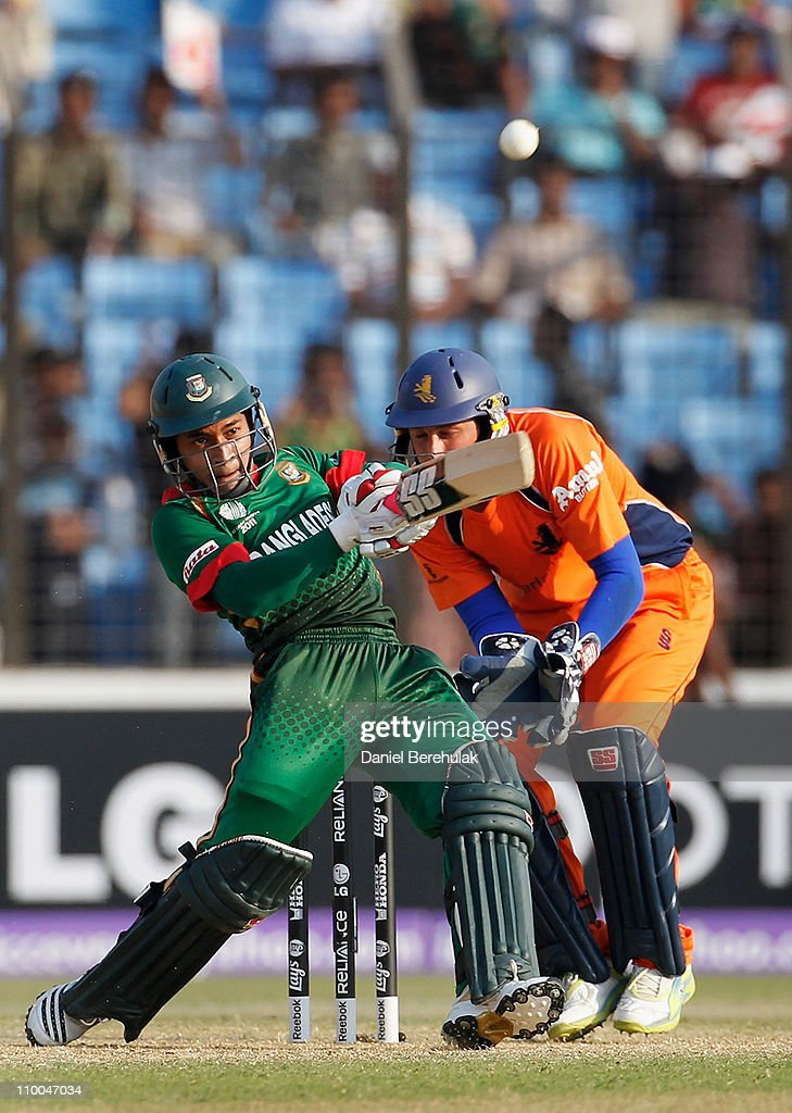 Mushfiqur Rahim of Bangladesh hits the winning runs during the 2011 ICC Cricket World Cup group B match between Bangladesh and the Netherlands at Zohur Ahmed Chowdhury Stadium on March 14, 2011 in Chittagong, Bangladesh.