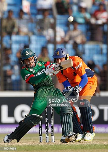 Mushfiqur Rahim of Bangladesh hits the winning runs during the 2011 ICC Cricket World Cup group B match between Bangladesh and the Netherlands at...