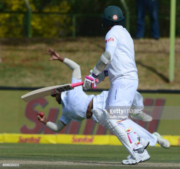 Mushfiqur Rahim of Bangladesh looks on as Temba Bavuma of the Proteas takes the catch during day 2 of the 2nd Sunfoil Test match between South Africa...