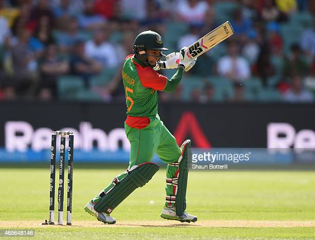 Mushfiqur Rahim of Bangladesh plays a shot during the 2015 ICC Cricket World Cup match between England and Bangladesh at Adelaide Oval on March 9...