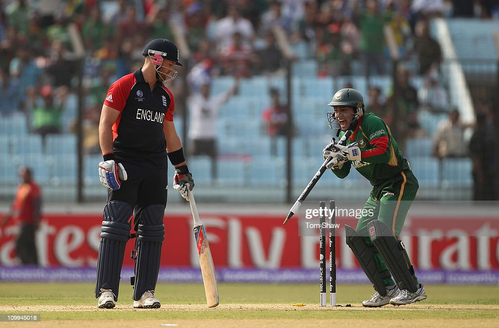 Mushfiqur Rahim of Bangladesh stumps Matt Prior of England by removing the stump after intially stumping him during the 2011 ICC World Cup Group B match between Bangladesh and England at Zohur Ahmed Chowdhury Stadium on March 11, 2011 in Chittagong, Bangladesh.