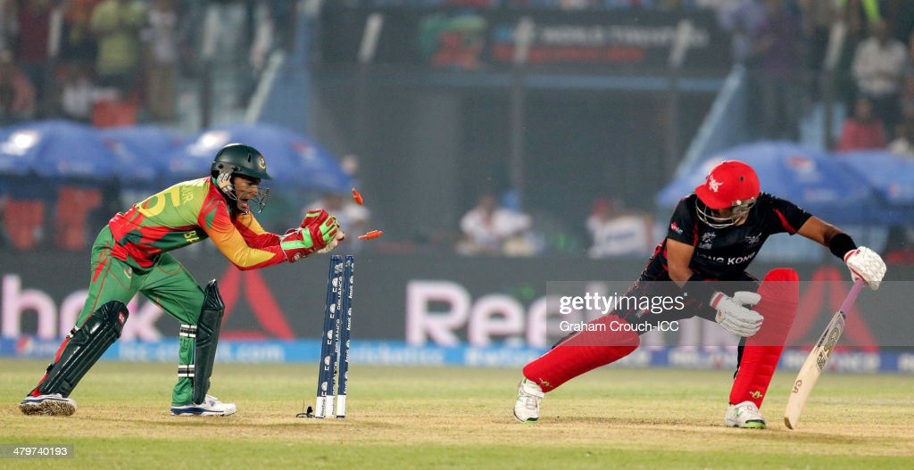Mushfiqur Rahim of Bangladesh stumps Munir Dar of Hong Kong during the Bangladesh v Hong Kong match at the ICC World Twenty20 Bangladesh 2014 played at Zahur Ahmed Chowdhury Stadium on March 20, 2014 in Chittagong, Bangladesh.