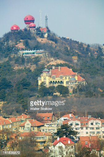Mushroom buildings of Xinhaoshan Park and Qingdao Ying Binguan, Qingdao, Shandong Province, China : Stock Photo