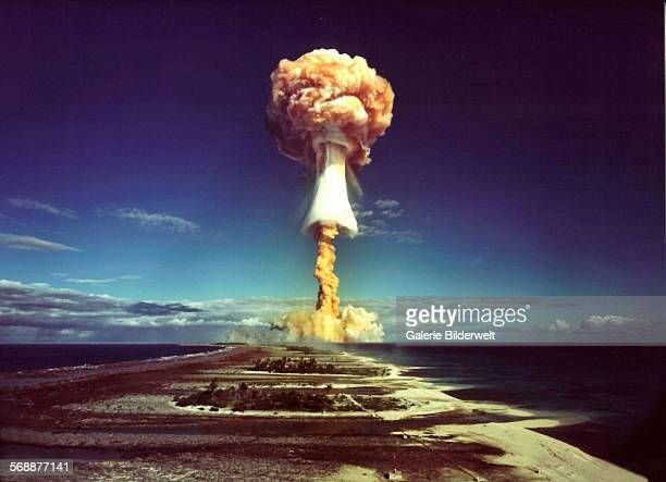 A mushroom cloud after the explosion of a French atomic bomb above the atoll of Mururoa also known as Aopuni 1971 From 1966until 1996 this was the...