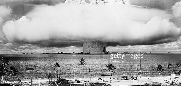 Mushroom cloud from a 23 kiloton atomic bomb detonated 90 feet underwater during Operation Crossroads along the Bikini Atoll This was the second...