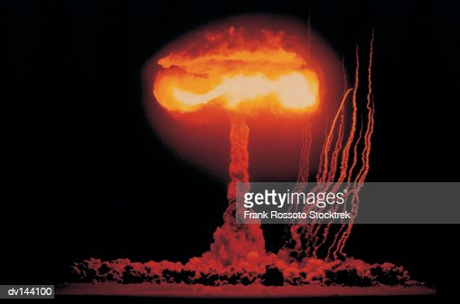 Mushroom cloud rising from nuclear explosion