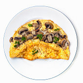 Mushroom omelet on plate, top view isolated on white.
