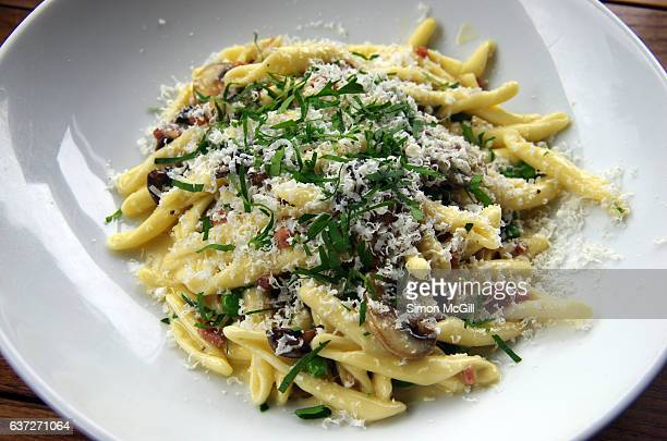 Mushroom, pancetta and fricelli pasta in a white wine and cream sauce, garnished with chopped Italian parsley and grated pecorino cheese