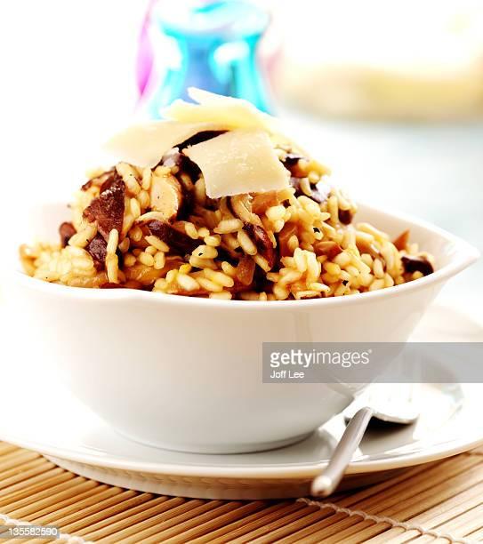 Mushroom risotto in white bowl