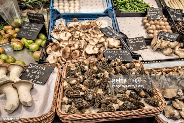 Mushrooms for sale at Central Market Valencia Spain