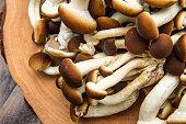 honey mushrooms on wood table