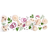 mushrooms with onion garlic parsley leaf dill and peppercorns isolated on white background with copy space for your text top view.
