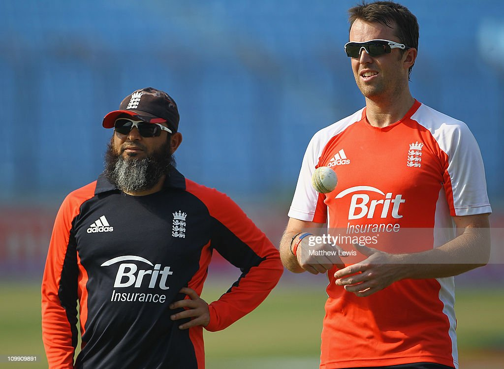 Mushtaq Ahmed bowling coach of England and Graeme Swann of England in action during an England Training Session at the Zahur Ahmed Chowdhury Stadium...