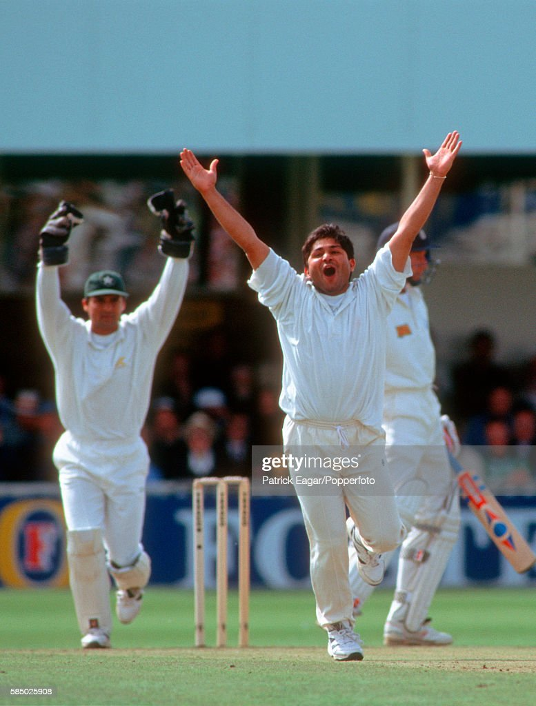 Mushtaq Ahmed of Pakistan appeals for the wicket of England captain Mike Atherton in the 2nd Texaco Trophy One Day International between England and...