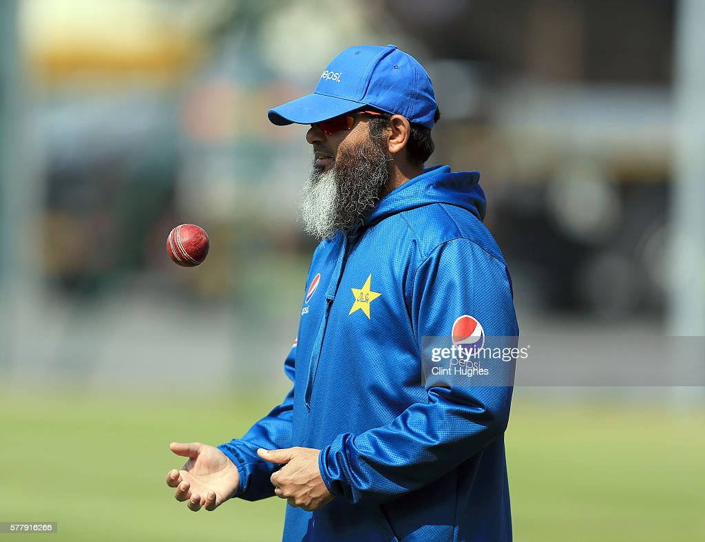 Mushtaq Ahmed of Pakistan during a Pakistan nets session ahead of the 2nd Investec test match between England and Pakistan at Old Trafford Cricket...