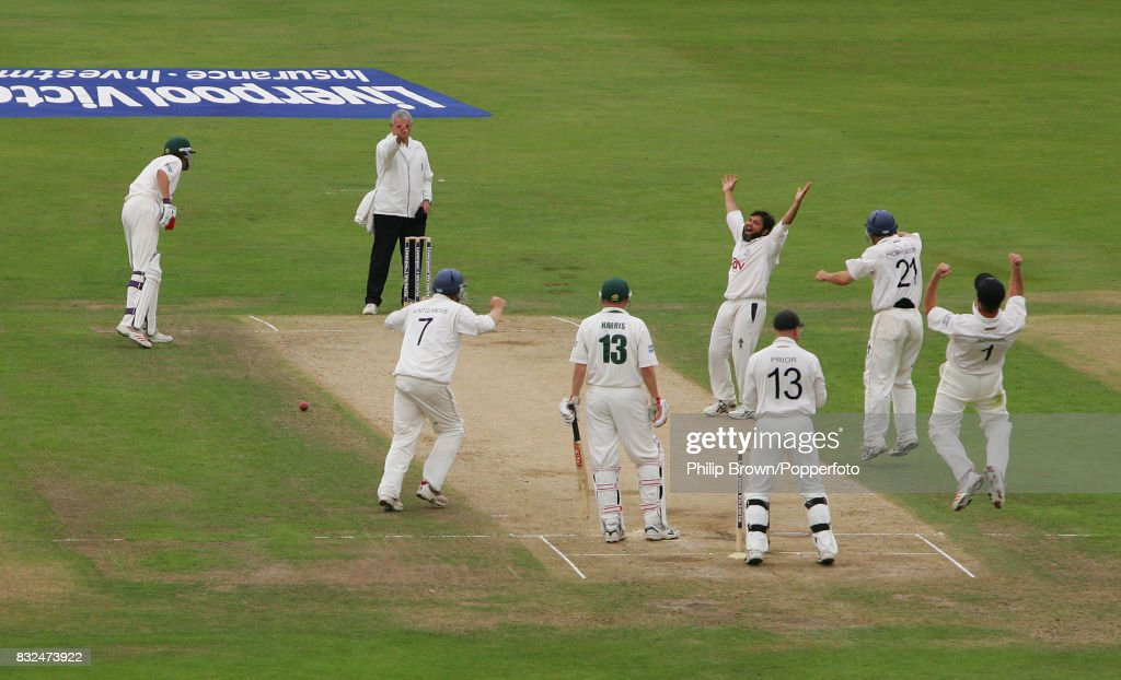 Mushtaq Ahmed of Sussex celebrates the final Nottinghamshire wicket, Andrew Harris LBW for 10, to win the County Championship match between Nottinghamshire and Sussex at Trent Bridge, Nottingham by an innings and 245 runs and secure the 2006 Liverpool Victoria County Championship, 22nd September 2006. The not-out batsman for Nottinghamshire is Charlie Shreck, the umpire is Barrie Leadbeater and the Sussex fielders are Richard Montgomerie, wicketkeeper Matt Prior, Carl Hopkinson and captain Chris Adams.