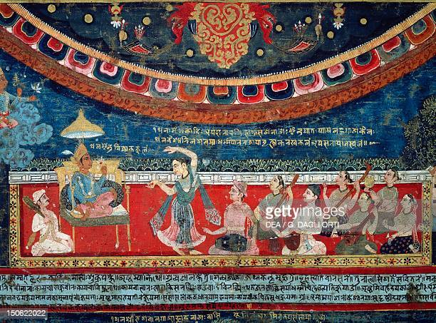 Music and dances performed in the presence of a prince in the glory of the gods detail from Mandala of Amoghapasa gouache on canvas Nepal Nepalese...