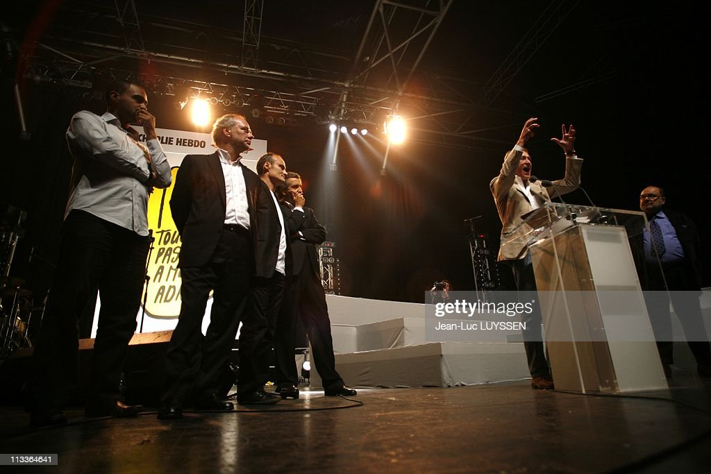Music And Meeting Of 'Touche Pas A Mon Adn' At Zenith In Paris, France On October 14, 2007 Dominique Sopo, Philippe Val, Bernard-Henri Levy, Laurent Joffrin and Bertrand Delanoe.