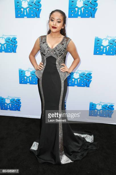 Music artist Alondra Santos arrives at the Screening of DreamWorks Animations and 20th Century Fox's 'The Boss Baby' at DreamWorks Animation on March...
