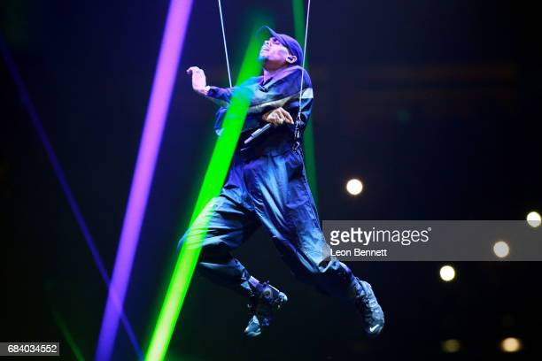 Music artist Chris Brown performs on stage during the Chris Brown The Party Tour at Honda Center on May 16 2017 in Anaheim California