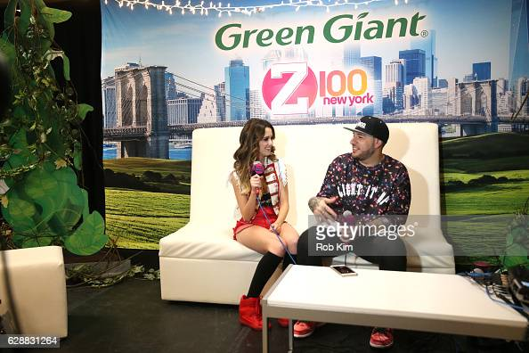 Music artist Laura Marano is being interviewed by Mo' Bounce at Z100 CocaCola All Access Lounge at Z100's Jingle Ball 2016 Presented by Capital One...