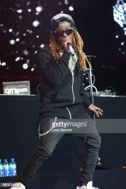 Music artist Lil Wayne performed on stage during Power 106 Presents Powerhouse 2017 at Glen Helen Amphitheatre on May 6 2017 in San Bernardino...