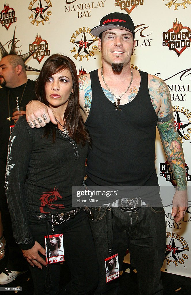 Music artist Rob '<a gi-track='captionPersonalityLinkClicked' href=/galleries/search?phrase=Vanilla+Ice&family=editorial&specificpeople=228351 ng-click='$event.stopPropagation()'>Vanilla Ice</a>' Van Winkle (R) and his wife Laura Van Winkle arrive at the grand opening of Mario Barth's Starlight Tattoo at the House of Blues inside the Mandalay Bay Resort & Casino February 16, 2008 in Las Vegas, Nevada.