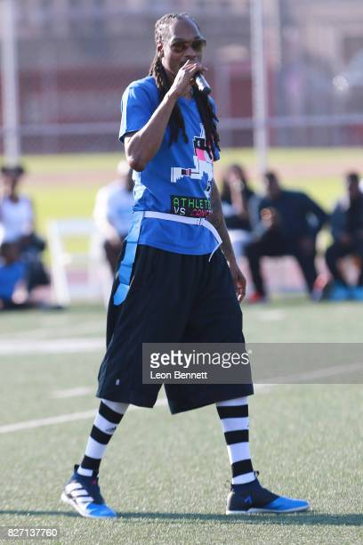Music artist Snoop Dogg attends Athletes vs Cancer's Celebrity Flag Football Game at John Burroughs High School on August 6 2017 in Burbank California