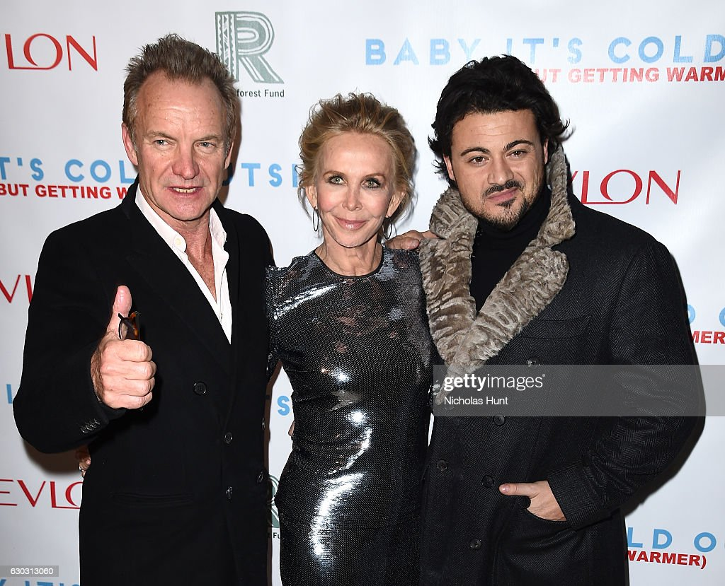 Music artist Sting, actress Trudie Styler and Vittorio Grigolo attend 'Baby It's Cold Outside' - The 2016 Revlon Holiday Concert for The Rainforest Fund Gala at JW Marriott Essex House on December 14, 2016 in New York City.