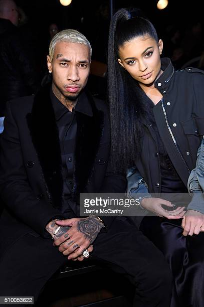 Music artist Tyga and TV personality Kylie Jenner attend the Alexander Wang Fall 2016 fashion show during New York Fashion Week at St Bartholomew's...