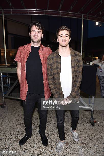 Music artists Alex Pall and Andrew Taggart of the band The Chainsmokers pose at 1035 KTU's KTUphoria 2016 presented by Aruba at Nikon at Jones Beach...