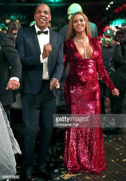 Music artists Jay Z and Beyoncé during The 59th GRAMMY Awards at STAPLES Center on February 12 2017 in Los Angeles California