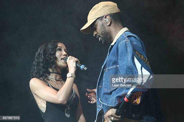 Music artists Jhene Aiko and Big Sean perform during the Power 106 Presents Powerhouse at Honda Center on June 3 2016 in Anaheim California
