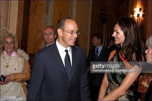 Music awards cocktail in Monaco City Monaco on May 01 2001 Prince Albert and Tasha de Vasconcelos