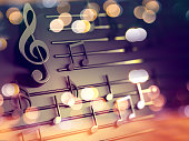 3d illustration of musical notes and musical signs of abstract music sheet.Songs and melody concept