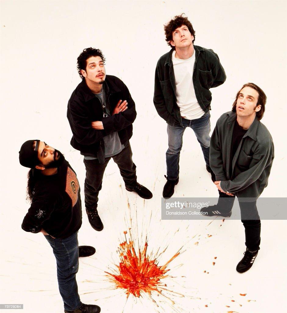 Music band Soundgarden members Chris Cornell, Kim Thayil, Matt Cameron and Ben Shepherd pose during a photoshoot held in 1997 in Seattle, Washington.