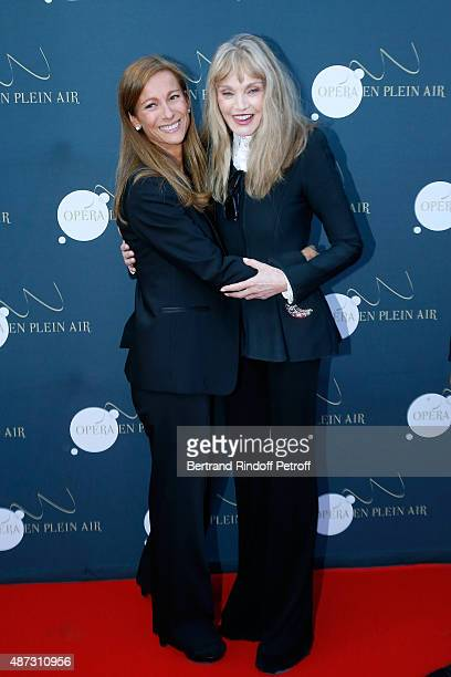 Music Booking of the Opera Anne Gravoin and Stage Director of the Opera Arielle Dombasle attend 'La Traviata' Opera en Plein Air produced by Benjamin...