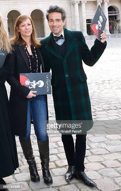 Music Booking Opera Anne Gravoin and sets and costumes of the Opera Vincent Dare attend the Opera 'La traviata' 'Opera en plein Air 2015' Press...