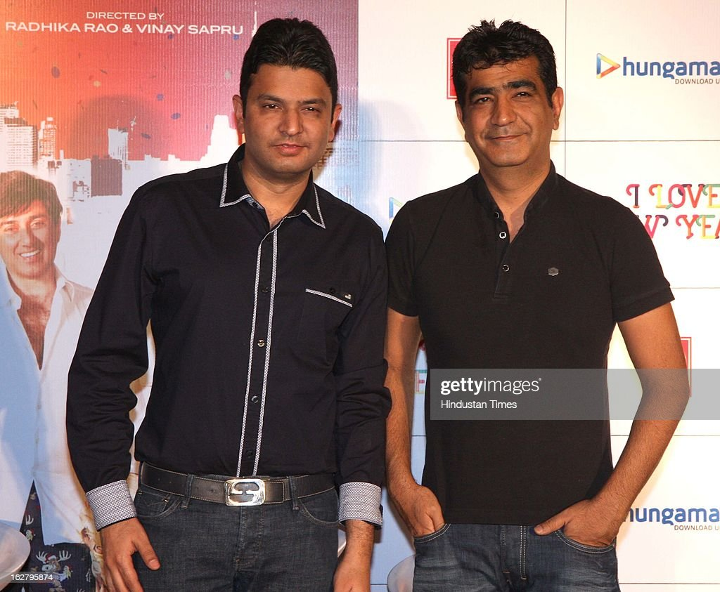 Music company T- Series chief and producer Bhushan and Krishan Kumar during Trailer launch of their upcoming movie I Love NY at Cinemax on February 25, 2013 in Mumbai, India.