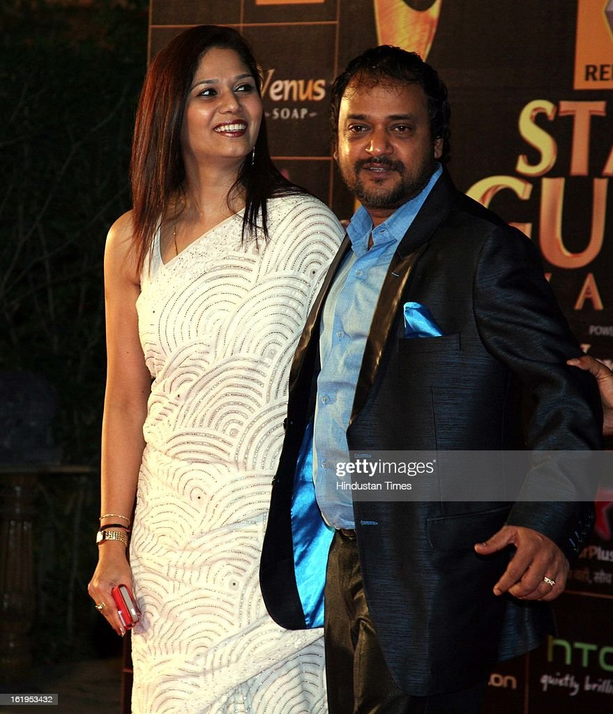 Music composer Sajid Ali with wife during Star Guild awards at Yash raj Studio, Andheri on February 16, 2013 in Mumbai, India.