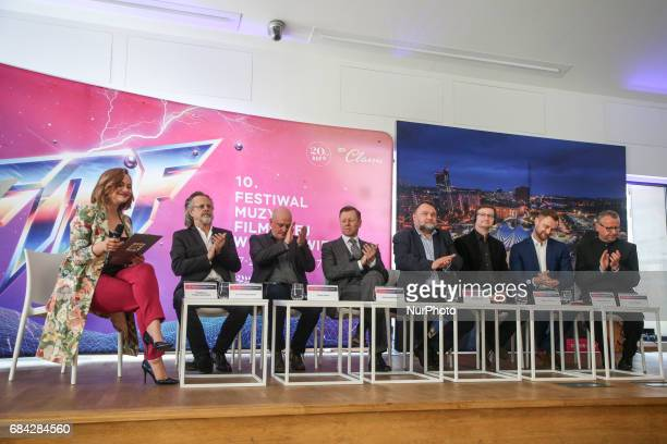 Music composers Jan AP Kaczmarek Trevor Morris and Abel Korzeniowski during the opening press conference of 10 edition of the annual Film Music...