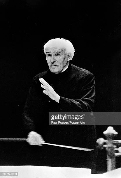 March 1954 Italian conductor Arturo Toscanini is pictured in action